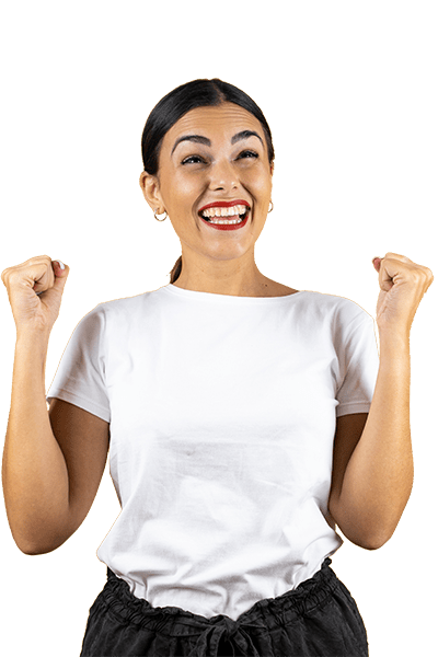 A happy woman with a white t-shirt on. With Scanycash, you can become a winner every month!