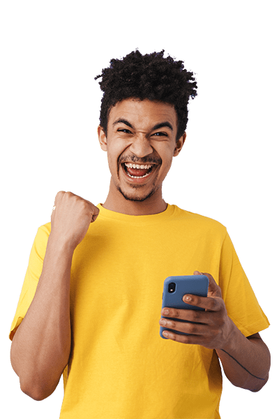 A guy with curly hair and yellow shirt. Become a winner with Scanycash!